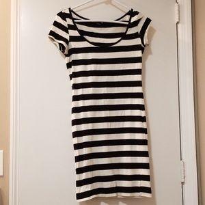 Black & White Striped Bodycon Dress